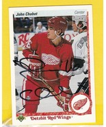 JOHN CHABOT AUTOGRAPHED CARD 1990-91 UPPER DECK DETROIT RED WINGS  - $5.88