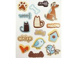 Cat, Dog, Bird-Themed Foiled, Dimensional Sticker Set