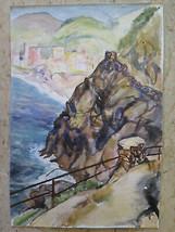 Landscape Ligure Way of Love Cinque Terre Painting Watercolour P14 - $39.38