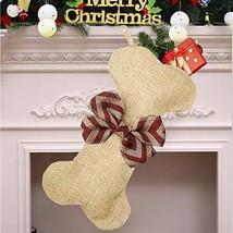Yodofol Dog Christmas Stockings Large Pets Bone Shaped Bow Burlap Hangin... - $13.37
