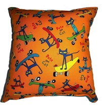 Pete The Cat Pillow Story Book Cat HANDMADE In USA Pillow Skate Boarding - $9.99