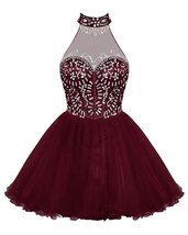 Short Tulle Beaded Homecoming Dress Halter Keyhole Prom Dress Cocktail B... - $134.00