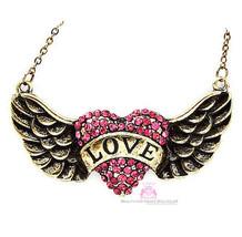 Vintage Pink Girls His Banner Over Me is Love Heart Angel Wing Crystal N... - $10.47