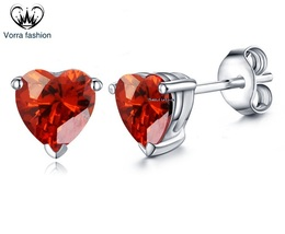 Heart Shape Earrings Red Garnet 14k White Gold Finish 925 Silver - £30.17 GBP
