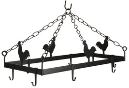 COUNTRY ROOSTER POT & PAN RACK Hanging Wrought Iron w/ 8 Scroll Hooks AM... - $108.87