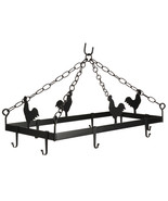COUNTRY ROOSTER POT & PAN RACK Hanging Wrought Iron w/ 8 Scroll Hooks AM... - $146.97