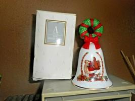Avon Porcelain Bell Santa W List 1995 Holiday With Original Box Euc - $12.86