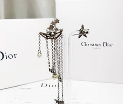 AUTHENTIC Christian Dior STAR CD LOGO CHARM Multi Chain Long Dangle Earrings image 2