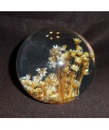 """Vintage large 5"""" round glass paper weight with dries flowers inside, heavy - $29.50"""