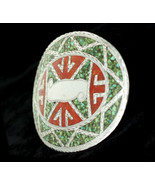 Vintage Navajo Sterling Silver Turquoise Coral Inlay Mosaic Belt Buckle - $269.99