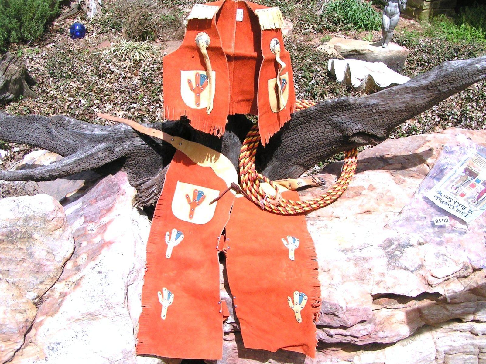 Leather kids chap vest sets 010.4