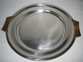 "Mid Century Modern 12"" Round Stainless Danish Tray Plate Platter Teak Ha... - $21.99"