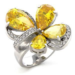 Topaz CZ Floral Cocktail Ring,  Rhodium Plated,  Size 8, 9