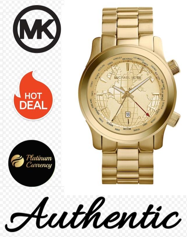 a22cd55f7c48 Mk5960 e. Mk5960 e. Previous. Michael Kors MK5960 Runway GMT Gold Globe  Watch Brand New With Tags
