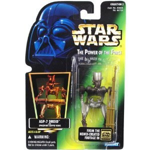 Star Wars POTF ASP-7 Droid action figure (green holo card)
