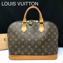 Auth Louis Vuitton Alma Hand Bag Brown Monogram Leather Logo Zipper LVB0467 - $376.20