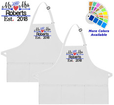 Personalized Apron Embroidered Mr and Mrs Embroidery Design Wedding Gift - $37.39+