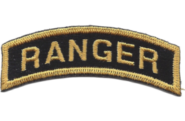 ARMY RANGER ROCKER BLACK FIELD EMBROIDERED PATCH - $23.74