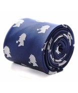 Navy Mens Tie with embroidered Sherlock Holmes Design by Frederick Thoma... - $18.35