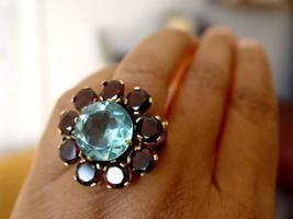 80.55 Carats Aquamarine Genuine Garnet Ring - $121.00