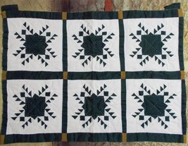 "Quilt Wall Hanging Star Pattern Six Squares Hand Stitching 17"" x 23"" - $29.69"