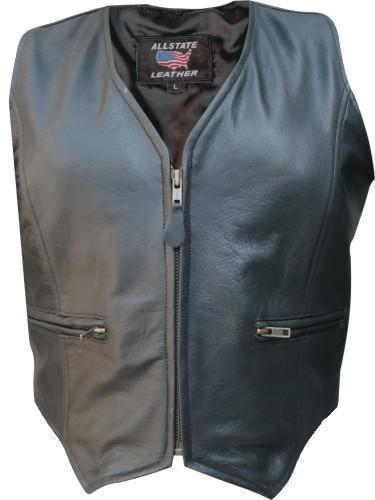 Womens Leather Motorcycle Zip Up Vest Biker S-3X allstate leather