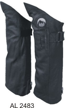 Half Leather Motorcycle Chaps with Concho Solid Leather S - 2X Allstate Leather