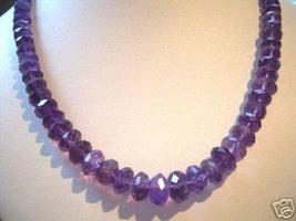 10-6 MM 180CT FACETED GENUINE AMETHYST NECKLACE - $299.00