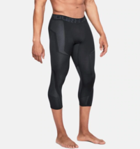 Under Armour Mens UA Seamless ¾ Leggings 1306391-001 Black/Stealth Gray NWT - $37.20