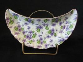 Lefton Violet Chintz Porcelain Crescent Bone Dish NE 793V, Japan Foil Label - $9.49