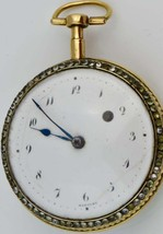 Rare antique Breguet Verge Fusee Pinchbeck gold&diamonds watch.Mother of... - $6,930.00