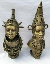 Superb African Benin King & Queen of Ife bronze heads - $5,900.00