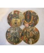 Set of 4 Handmade Cork Coasters With Medieval K... - $12.00