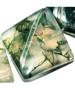 16mm natural moss agate twist loose bead - $9.99