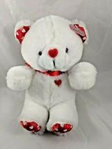 "White Bear Plush Red Hearts 11"" MTY International Dandee Stuffed Animal toy - $20.66"