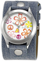 Zou Zou White Floral Dial Blue Denim Cuff Ladies Watch ZRT6008 - $18.22