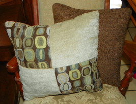 Pair of Brown Beige Circle Abstract Print Patchwork Print Throw Pillows ... - $49.95