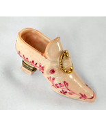 Limoges Box - Floral High Heel Shoe & Gold Buckle - Chamart - Peint Main - $75.00