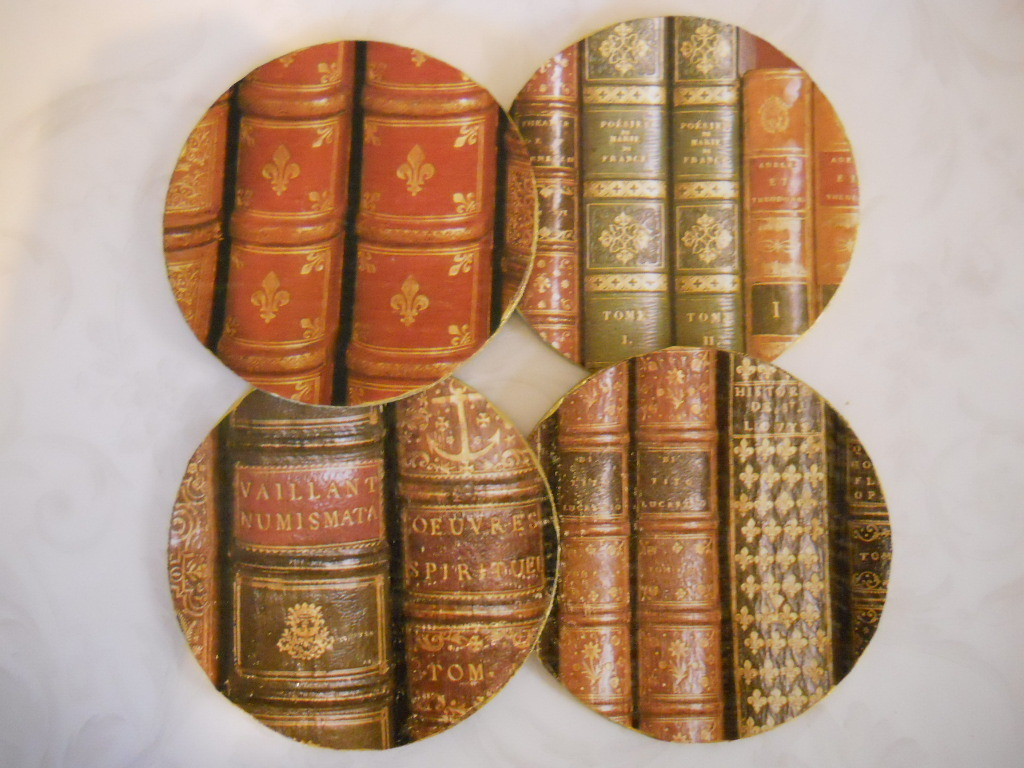 Set of 4 Handmade Cork Coasters With Images of Antique Books