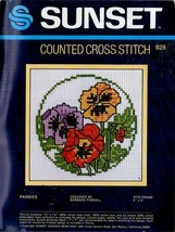 """Sunset Counted Cross Stitch Kit """"Pansies"""" Fits 5"""" X 5"""" Frame - Unused - $5.75"""