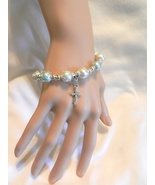New Fancy Charming  Stretch  Faux Pearl  Beads Cross Stretch Beaded Brac... - $4.99