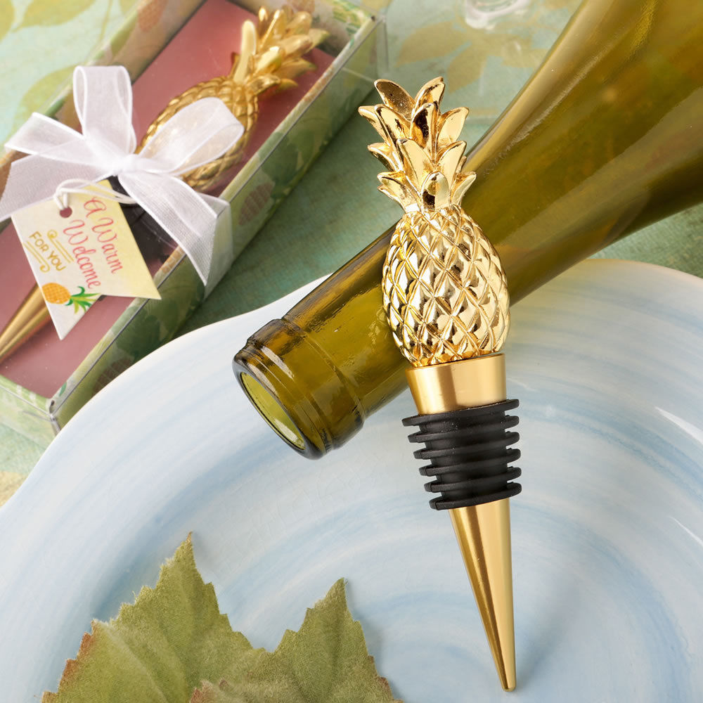 1 Pineapple Wine Bottle Stopper - Warm Welcome - Engraved Tag - Wedding Gift - $7.98 - $9.98