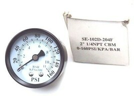 NIB PIC GAUGES SE-102D-204F, 2'', 1/4NPT CBM, 0-160PSI/KPA/BAR, SE102D204F