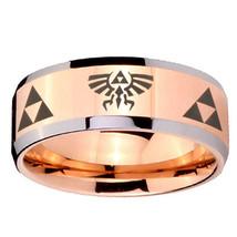 10mm Legend of Zelda Beveled Edges Rose Gold Tungsten Carbide Wedding Ba... - $44.99