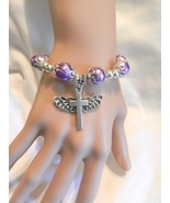 New ! Handmade Silver & Purple  Swirl Beads  Wings Cross Charm Stretch B... - $4.99