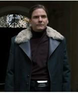 The Falcon and The Winter Soldier Baron Zemo Black Trench Coat Fur Colla... - $89.09+