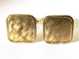 Vtg Square Cufflinks Brushed Gold Tone Men's Re... - $12.19