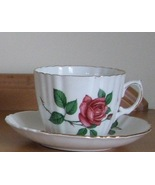 Phoenix Bone China Tea Cup Saucer Red Rose England Gold Trim Floral - $15.93