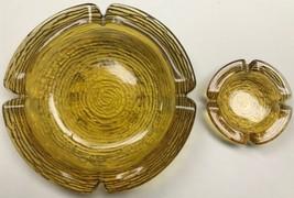 Vintage Anchor Hocking Glass Amber Soreno Ashtray - Set of 2 - $44.55