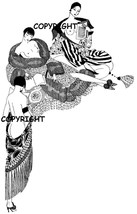 3 NAUGHTY FRENCH LADIES IN SHAWLS mounted rubber stamp - $8.50